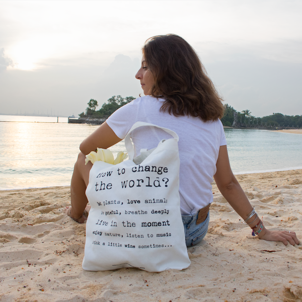 """change the world"" tote bag"