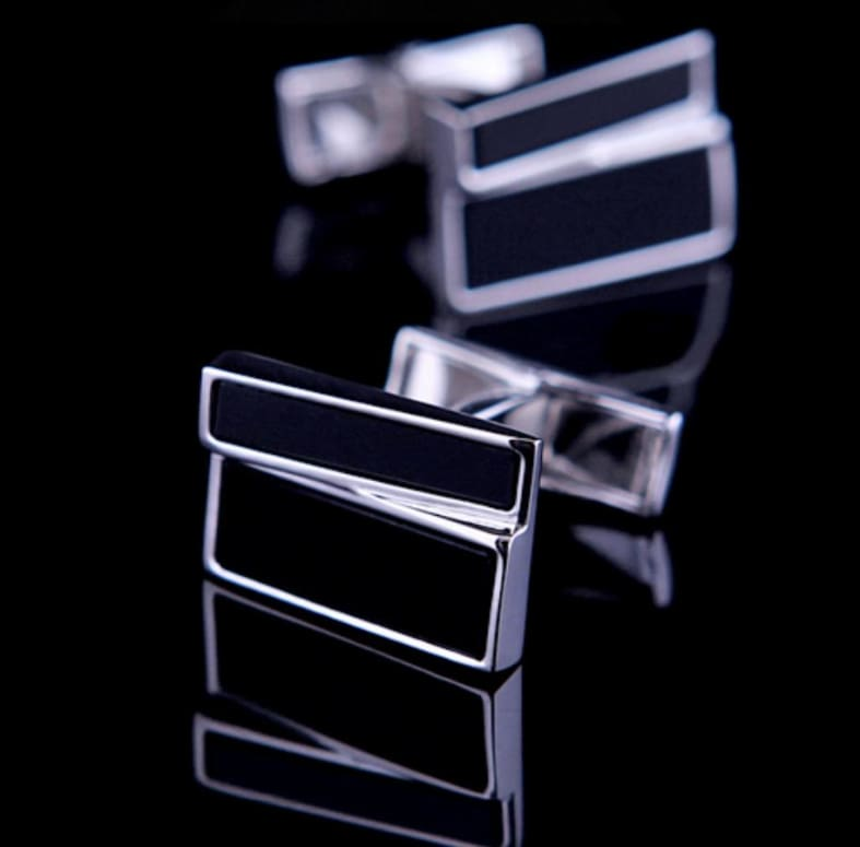 Boutons De Manchette - Double Rectangle Noir Et Argent Only-Gentlemen.com Free Shipping