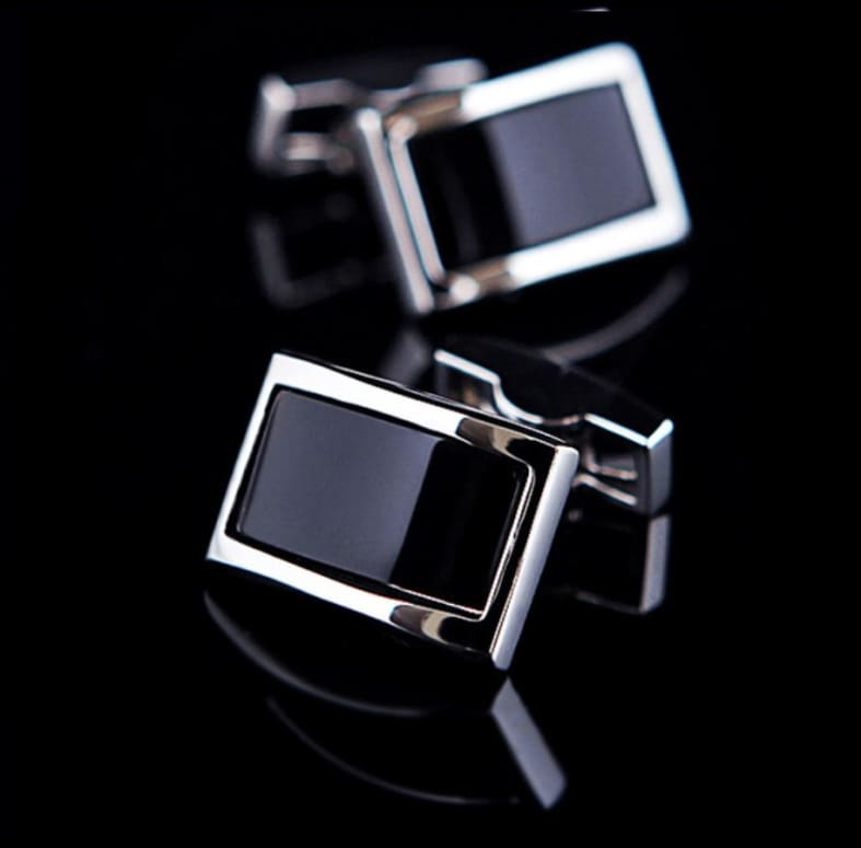 Boutons De Manchette - Grand Rectangle Lunaire Only-Gentlemen.com Free Shipping