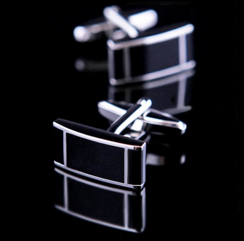 Boutons De Manchette - Rectangle Argenté Et Noir Only-Gentlemen.com Free Shipping