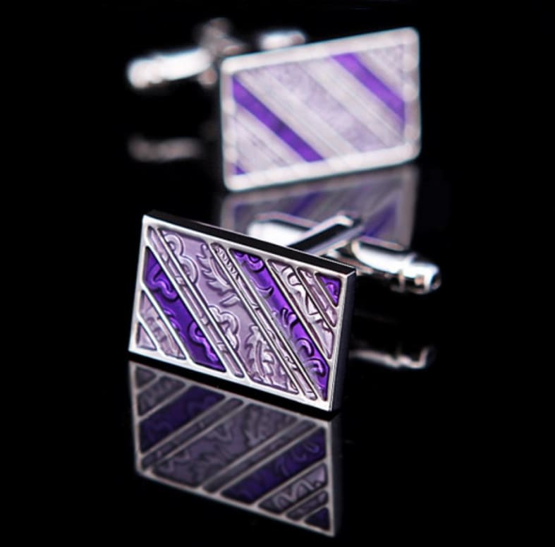 Boutons De Manchette - Rectangle Effet Baroque Pourpre Only-Gentlemen.com Free Shipping