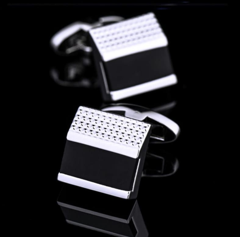 Boutons De Manchette - Rectangle Noir Et Argenté Only-Gentlemen.com Free Shipping