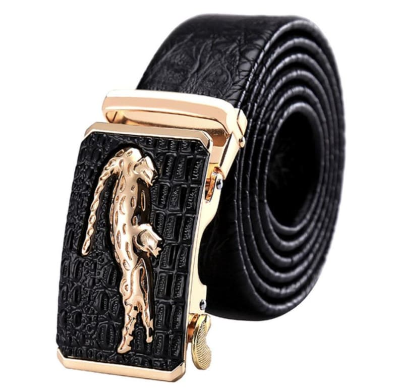 Men's Belt Black Leather Golden Croco Only-Gentlemen.com Free Shipping
