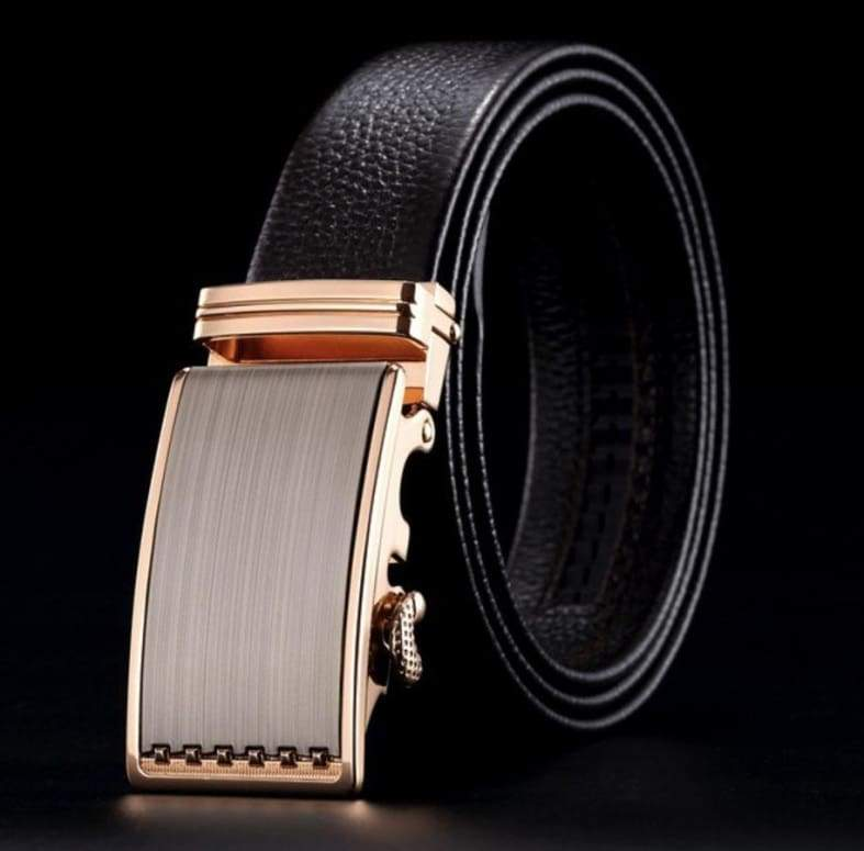 Black-Leather Man Belt and Golden Loop only-gentlemen.com Free Shipping