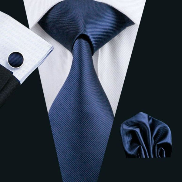 Cravate En Soie Homme - Couleur Unie Bleue Marine Only-Gentlemen.com Free Shipping