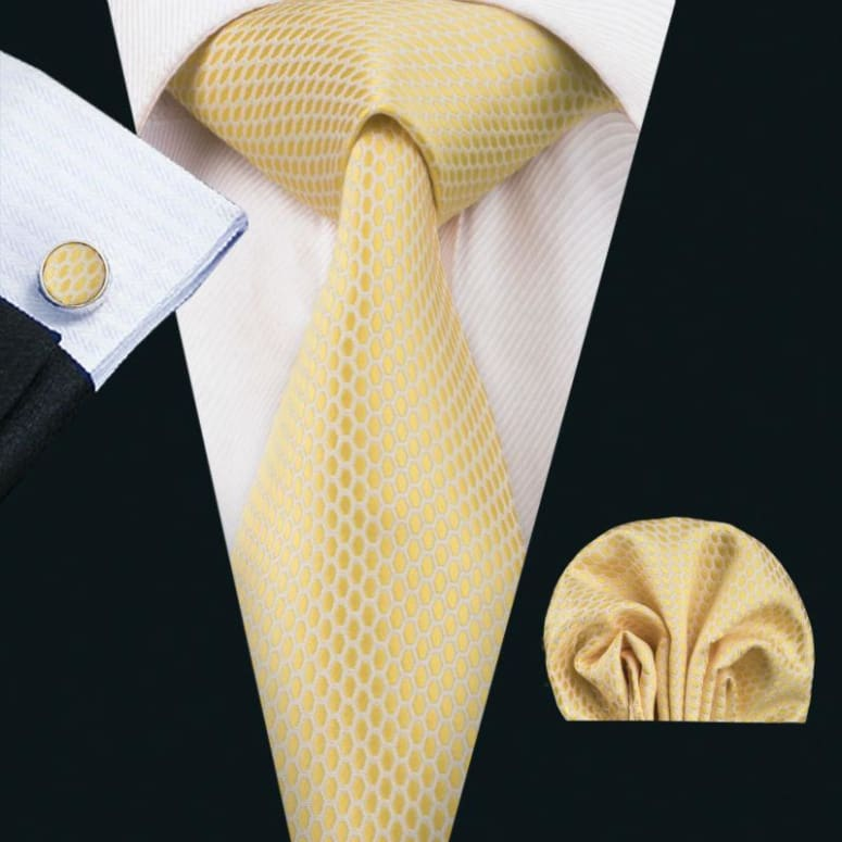 Cravate En Soie Homme - Couleur Unie Jaune Effet Design Only-Gentlemen.com Free Shipping