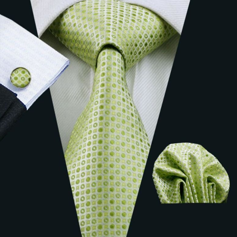 Cravate En Soie Homme - Fond Vert Avec Points Brillants Only-Gentlemen.com Free Shipping