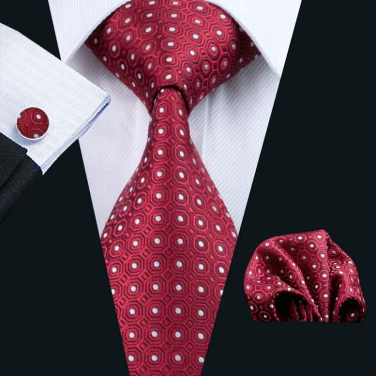 Cravate En Soie Homme - Rouge Avec Points Blancs Only-Gentlemen.com Free Shipping