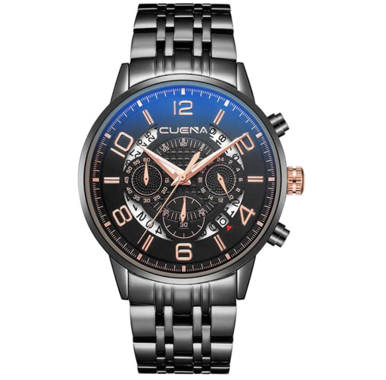 Cuena - Montre Homme Noire Shine A Quartz Only-Gentlemen.com Free Shipping