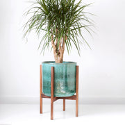 "Large Mid Century Modern Planter with Wood Stand (12"" Aqua Blue Ceramic)"