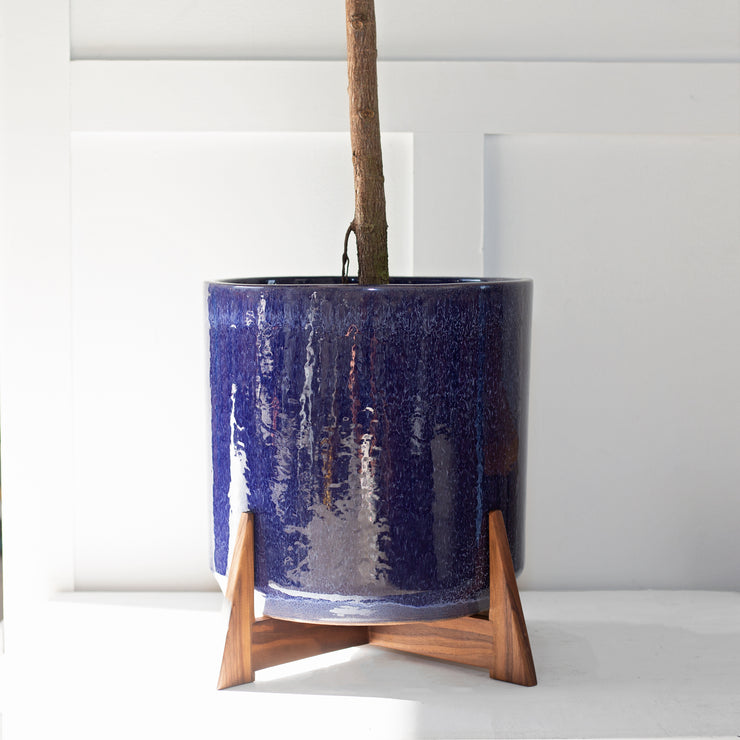 "XXL - Deep Blue Cylinder with Apollo Wood Stand (15"" Planter and Stand)"