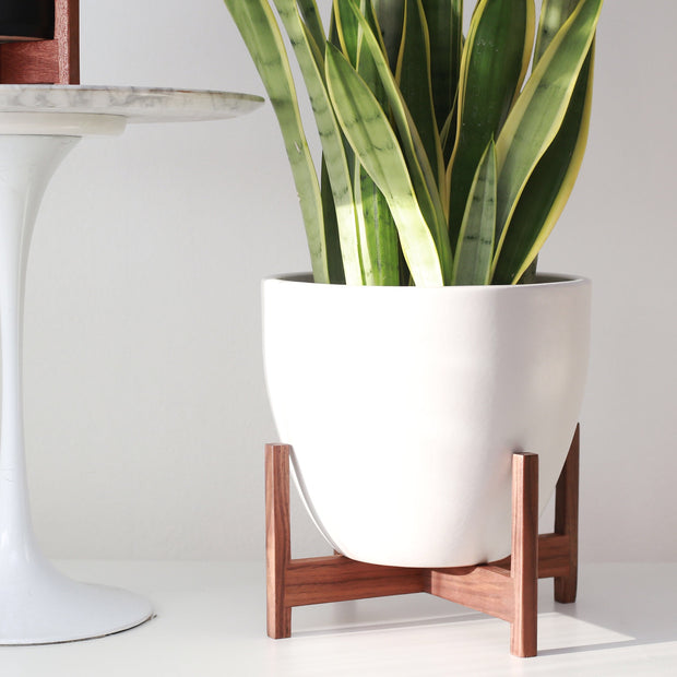 "XXL - Bell Mid Century Modern Planter and Solid Wood Plant Stand - 15"" Ceramic Pot"