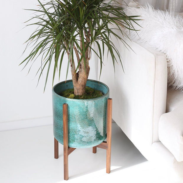 "Large Mid Century Modern Planter and Wood Stand - 12"" Aqua Blue Ceramic"