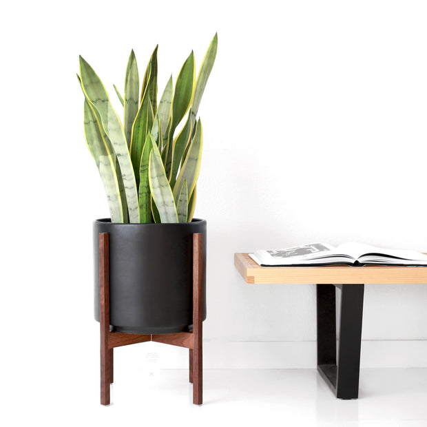 "Large Black Mid Century Modern Ceramic Planter with Reversible Wood Stand (12"" Ceramic Set)"