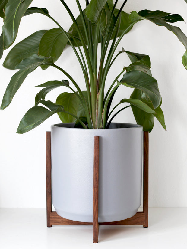 "XXL - Mid Century Modern Planter and Manhattan Plant Stand - 15"" Ceramic Pot"