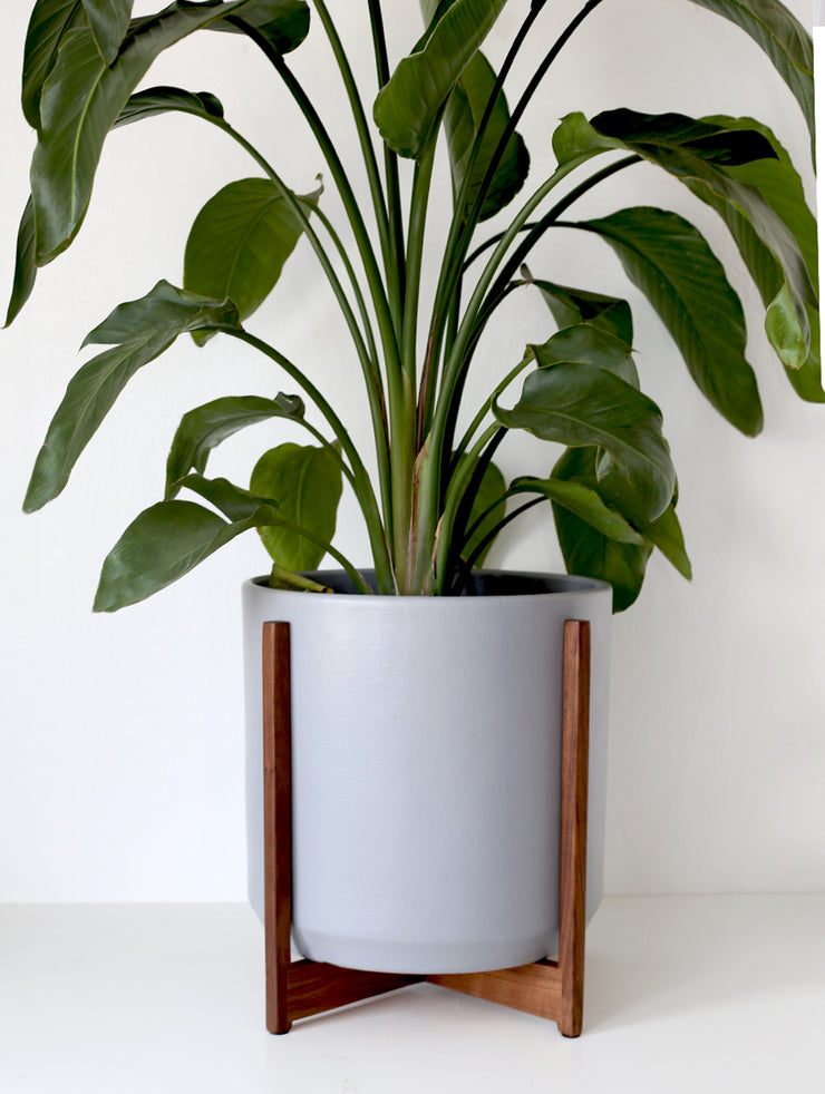 "XXL Classic Mid Century Modern Planter with Manhattan Wood Stand - 15"" Ceramic Pot"