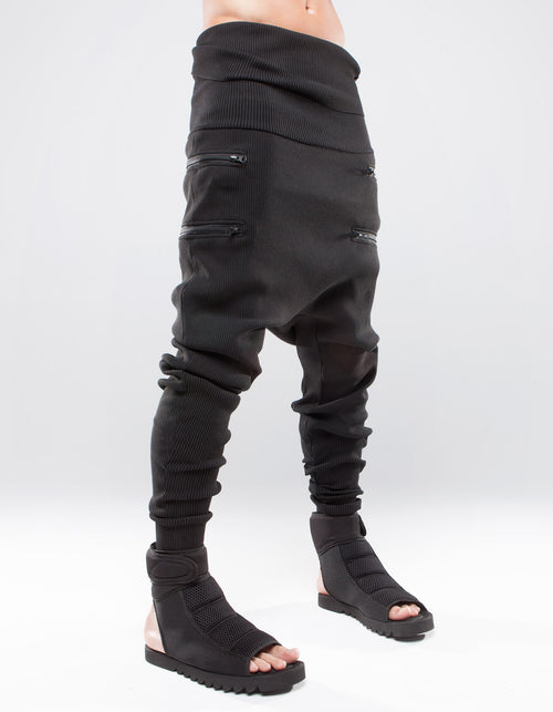 TROUSERS RIB ZIP BLACK