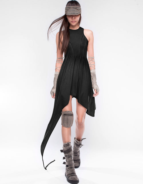 SHORT DRESS INTAO LINES BLACK