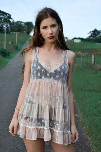 Sweet Floral Sheer Lace Babydoll Dress