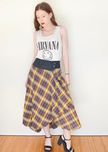 Yellow Plaid Wrap Skirt w/ Denim Waistband