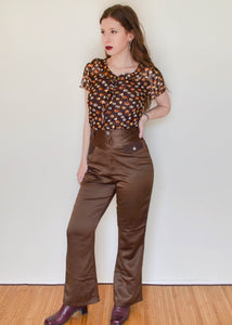 Retro High Waist Bronze Flared Pants