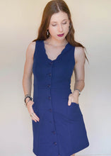 Navy Blue Button-up Lettuce Dress