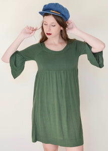 Forest Green Bell Sleeve Babydoll Dress