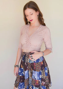 Pastel Pink Lace Crochet Top