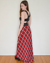 Red Hot Pleated Plaid Maxi Skirt
