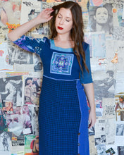 1990s Bohemian Royal Blue Plaid Patchwork Maxi Pencil Dress