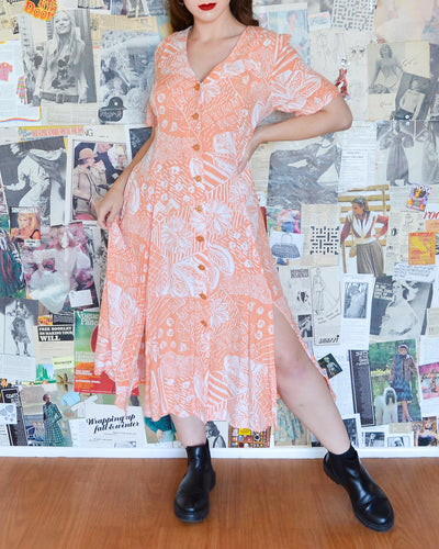 Vintage 1980s Scandals Peach Floral Collared Button-Up Maxi Sun Dress