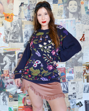 Vintage Navy Floral Knit Jumper with Poms Poms