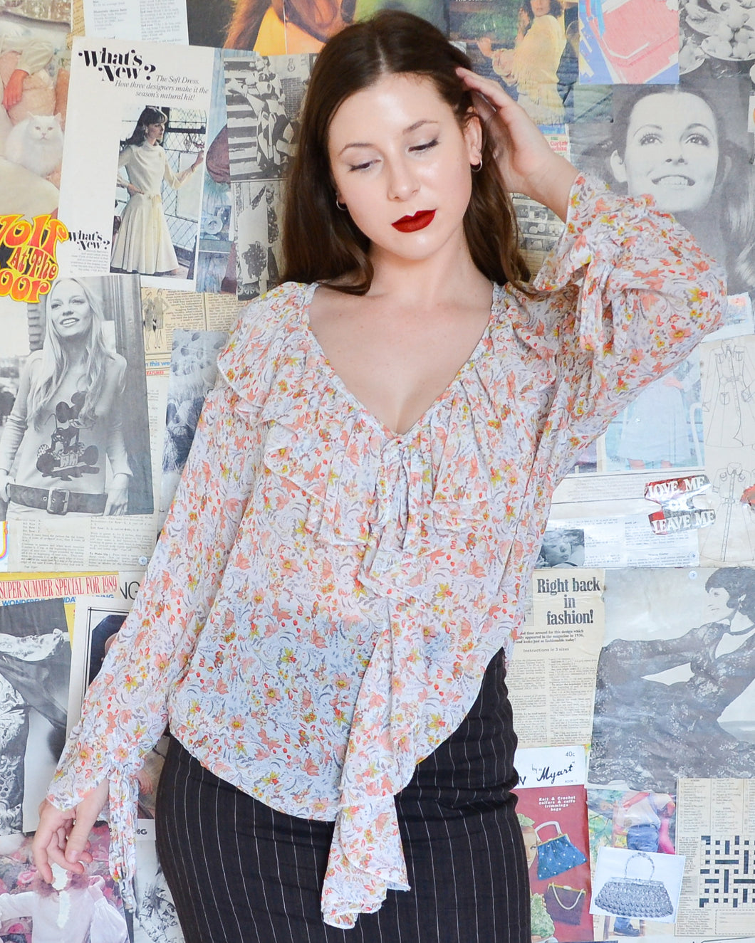 Bohemian Sheer Floral Frilled Collar & Cuffs Top