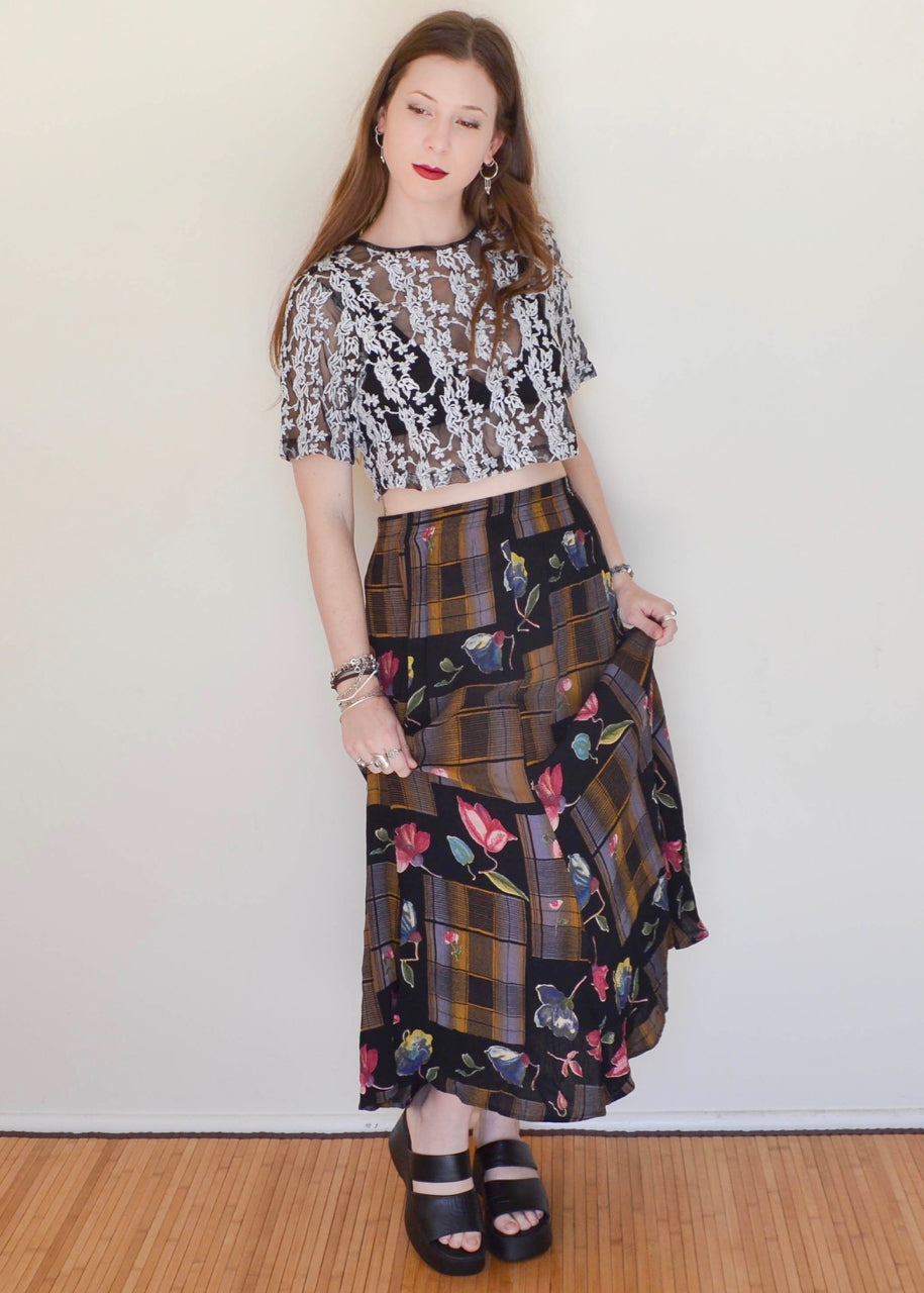 Floral Plaid Maxi Skirt
