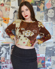 Earth Tones Hippie Art Deco Floral Pattern Long Sleeve Top