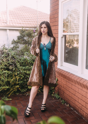 y2k Mango Crushed Velvet Brown Faux Fur Penny Lane Style Coat