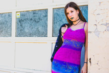 90's Hot Pink & Purple Mesh Dress w/ Gold Paisley Floral Print
