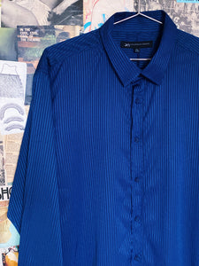 Royal Blue Satin Metallic Disco Stripe Long Sleeve Shirt