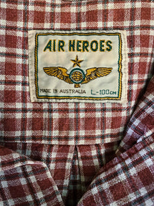 Vintage 1980s Air Heroes Burnt Red Tobacco Flannel Shirt