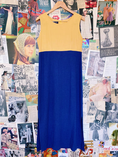 Vintage 1990s Linen Blend Colour Block Yellow & Blue Maxi Dress
