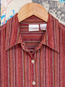 Linen Blend Warm Tones Vertical Striped Button-up Collared Shirt