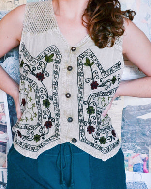 Cream Embroidered Floral & Vine Vest with Crochet Shoulder Detailing