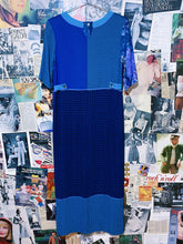 1980s Bohemian Royal Blue Plaid Patchwork Maxi Pencil Dress