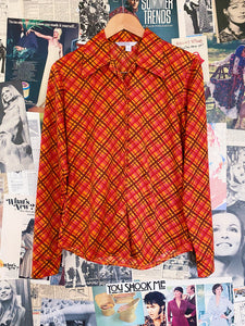Esprit Orange Plaid Blouse