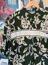 y2k Army Green Hawaiian Print Shirt with Tribal Print Stripe