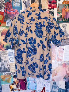 Vintage 1990s Cream Navy Hawaiian Print Shirt