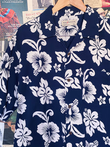 Navy Corduroy Hawaiian Print Shirt