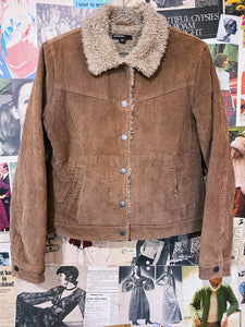 y2k Brown Sherpa  Faux Fur Corduroy Box-cut Trucker Jacket