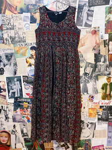 1970s Style Indian Hippie Floral & Elephant Print Babydoll Maxi Dress