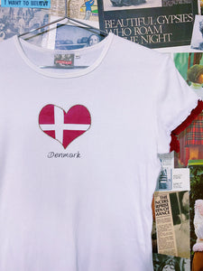 Denmark Love Heart Flag White Ribbed Crop Tee